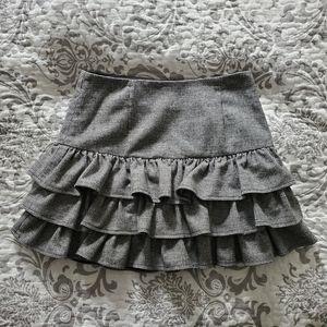 Paul & Joe Black/Grey Wool Ruffle Skirt Sz 2
